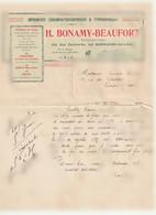 Imprimerie H. Bonamy=Beaufort 154 R. Faidherbe La Madeleine-lez-Lille Nord-Courrier /Mme Jannin-Mulcey Chalon/s/Sâone 71 - Printing & Stationeries