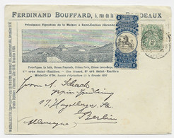 N°111 SEUL BELLE ENVELOPPE FERDINAND BOUFFARD SAINT EMILION CHATEAU PAVIE BORDEAUX + VIGNETTE POUR BERLIN - 1877-1920: Semi-moderne Periode
