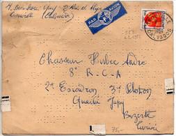 Blason POITOU (n° 952) Seul Sur Cécogramme, Par Avion Pour Un Militaire En TUNISIE, Du 4.3.1954 - 1921-1960: Modern Period