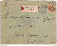 116 - 28 - Enveloppe Recommandée Envoyée De Fribourg 1895 - Timbre 68D (catalogue Zumstein) - Briefe U. Dokumente