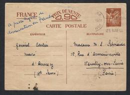 FRANCE Ca. 1941:  CP Entier De 0,90Fr, Obl. D'Annecy - 1939-44 Iris