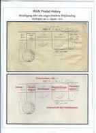 PERSIA - IRAN 1910;  Bestätigung über Eine Eingeschriebene Briefsendung - Irán
