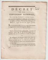 1793, Décret De La Convention Nationale Qui Met à La Réquisition Du Ministre De La Guerre Les Pharmaciens, Médecins, - Decrees & Laws