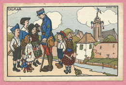 68 - COLMAR - Carte Signée HANSI - J.J. WALTZ - Enfants + Hansi - Carte Envoyée En 1919 - 2 Scans - Colmar