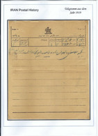 Persia - Persien - Iran - Middle East 1919;  Telegram From TEHERAN To ISFAHAN,  Including Envelope ! - Irán