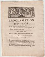 1789, Proclamation Du Roi - Decrees & Laws