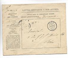 PARIS Lettre Renvoyée à Son Auteur Destinataire Inconnu Adressée à CHARONNE Taxe Tampon 25  1850        ..G - 1849-1876: Periodo Classico