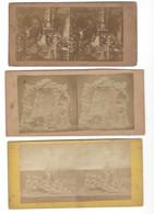 3 Stéréos Vers 1860-70 Enfer - Purgatoire - Squelettes - Diableries - Stereoscopio