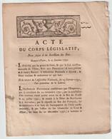 1792, Acte Du Corps Législatif - Decrees & Laws