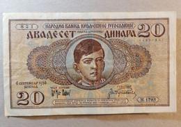 Very Old Banknote Fine DVADESET DINARA Kraljevina Kingdom Of Jugoslavija 1936. Kralj King Petar Karadjordjevic - Unclassified