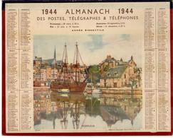 CALENDRIER GF 1944 - Bateau à Quai à Honfleur, Imprimeur Oberthur Rennes (calendrier Double) - Tamaño Grande : 1941-60