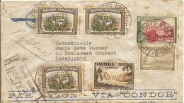 Brésil 1938 - Lettre Recommandée PA  - Via Condor - De Porto Uniao à Casablanca, Maroc - Affranchissement Composé - Covers & Documents