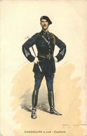 MILITAIRE UNIFORME  Chasseur A Pied Capitaine    Illustrateur Edmond LAJOUX - Uniformes
