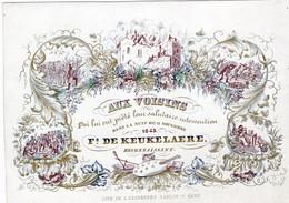 BRANDWEER Incendie Pompiers 1843 Lith. Defferrez  17,5x11,5 Cm Kaart Om Buren Te Bedanken Voor Hun Hulp INCENDIE GAND - Porcelaine
