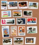 [V50] BRD - Privatpost - 17 W - Motive: Briefträger, Raumfahrt, Städte, Gebäude, Auto - Privatpost