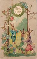 79298- Fröhliche Ostern, Prägedruck Karte Vermenschlichter Hase Und Osterhäsin Tanzen Um 1905 - Pâques