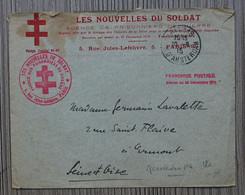 """30 Sept. 1915 : Enveloppe De L' Agence Prisonniers De Guerre - """"Les Nouvelles Du Soldat"""" Postée à Paris Pour Ermont - Militaria"""