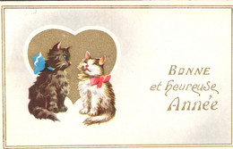 2 Chats  - Cats -katzen -  2 Poesjes Met Strikje - Chats