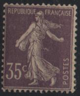 France Maury 136 II Da (Yvert ) * Semeuse Maigre 35c Type 2 Sur Papier Crème Avec Anneau Lune Au Niveau Du Fessier - Curiosities: 1900-20 Mint/hinged