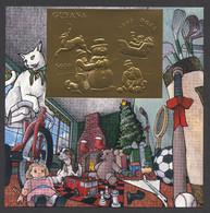 Guyana, 1993, Christmas, Toys, Snowman, Sleigh, MNH Imperforated Gold Sheet, Michel Block 353 - Guyana (1966-...)