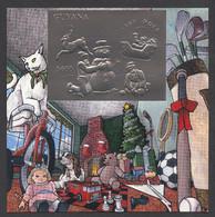 Guyana, 1993, Christmas, Toys, Snowman, Sleigh, MNH Imperforated Silver Sheet, Michel Block 354 - Guyana (1966-...)