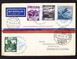 1932 Zeppelin Post, Karte Aus Vaduz 28.VI.1932 Nach Stuttgart. Mischfrankatur Mit Flugpost-Marke. Bedarfsspuren - Air Post