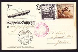1930 Zeppelin AK Aus Triesenberg, Schweiz Flug über Basel Und Zürich Nach Genève. Im Rechten Rand Etwas Fleckig. Misch- - Air Post
