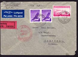1936 Zeppelin Express-Brief (im Rand Etwas Eingerissen) Aus Triesenberg über New York Nach Kempttal. Flugpost Marken. - Air Post