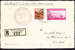 1936 R-Zeppelin Karte Aus Triesenberg Nach New York Mit 1 Fr Flugpost Marke Sowie 25 Rp Saminatal - Air Post