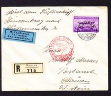 1936 R-Zeppelin Brief Aus Mauren über New York Nach Mauren.mit 2 Fr Flugpost Marke. Minim Fleckig - Air Post