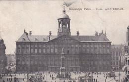 4843459Amsterdam, Koninklijk Paleis – Dam Met Trams.1912. (vouwen Zie Achterkant) - Amsterdam