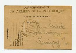 !!! 2E GUERRE, LEGION TCHECOSLOVAQUE EN FRANCE, CARTE EN FRANCHISE DE 1940 - RR - Guerra Del 1939-45