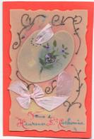 Carte CELLULOID à Palette De Peintre Peinte Main,  Amovible, Et Ruban Rose - Heureuse Ste Catherine - Met Mechanische Systemen
