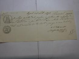 CAMBIALE  REGNO  ---  EMPOLI  --  C. 50 FINO   L. 1.000 -- FILIGRANA -- VeC.   -- 1868 - Bills Of Exchange