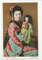 Japon Japan Kyoto Femme Maiko Girl Coiffe Costume Avec Sa Poupée - Kyoto