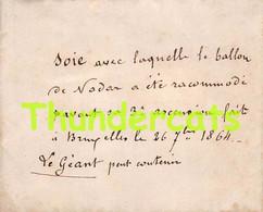 SOIE DE 1864  AVEC LAQUELLE LE BALLON DE NADAR A ETE RACOMMODE BRUXELLES LE GEANT LACE HOT AIR BALLOON - Mongolfiere