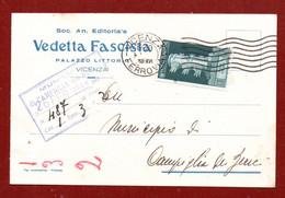 VEDETTA FASCISTA SOC.AN.EDITORIALE PALAZZO LITTORIO VICENZA - CARTOLINA 24/2/38 AUGUSTO 15 C. Per CAMPIGLIA DEI BERICI - Marcophilia