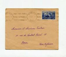 !!! N°402 PIERRE & MARIE CURIE SEUL SUR LETTRE DE CREIL DE 1938 POUR ROUEN - 1921-1960: Modern Period