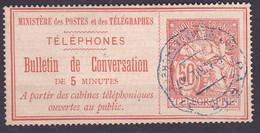 Bulletin De Conversation 5 Minutes 50c Rouge  - Oblitération Ondulée - Telegrafi E Telefoni