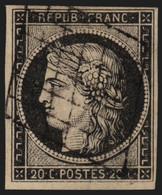France N°3, Cérès 1849, 20c Noir Sur Jaune - TB - COTE 65 € - 1849-1850 Ceres