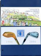 TIMBRE FRANCE REF170321, BLOC SOUVENIR 13 AVEC ETUI, Centenaire De L'Open De France De Golf, 2006,NEUF - Foglietti Commemorativi