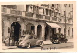Menton 1951 Photo 5.5x9cm - Garage - Automobile RENAULT - 41 Quai Bonaparte Moto-velo Auto - Coches