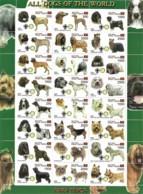 East Timor 2000  ALL DOGS OF WORLD PARA TIMOR, 1 Sheet MNH (24 Val) Cadre Verte CINDERELLA - Erinofilia