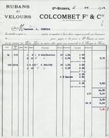 42 SAINT ETIENNE St  FACTURE 1914 Rubans & Velours  COLCOMBET   X122 Loire - 1900 – 1949