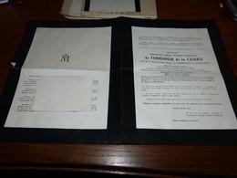 Lettre De Mort Messire Christian De Formanoir De La Cazerie Général De Cavalerie Tirlemont Tienen Tournai 1938 Templeuve - Todesanzeige