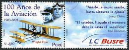 Pérou Peru 2003 Pioneers Jose Quinone Jorge Chavez Wright Flyer I ( YT Yvert 1350, Mi Michel 1859, SG Gibbons 2171) - Airplanes