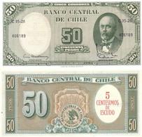 CHILE 5 Centésimos De Escudo On 50 Pesos ND 1961 P 126 B (1) UNC - Chile