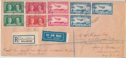 Neuseeland - 6 P. Silver Jubilee U.a. Luftpost Einschreibebrief 1st-Flight 1935 - Enteros Postales