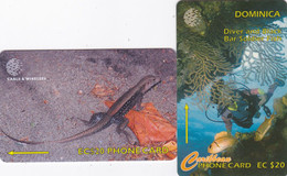 Dominica - - - 2 Phonecards GPT - - - Lizard And Underwater - Dominica