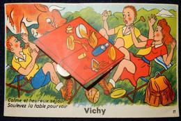 03 CPA VICHY CARTE A SYSTÈME CALME ET HEUREUX SÉJOUR SOULEVEZ LA TABLE POUR VOIR ÉDITIONS GABY N°11 - Vichy